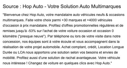 Capture exemple de description concession automobile google my business