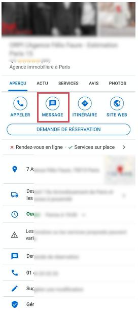 Aperçu onglet messagerie d'une fiche Google My Business