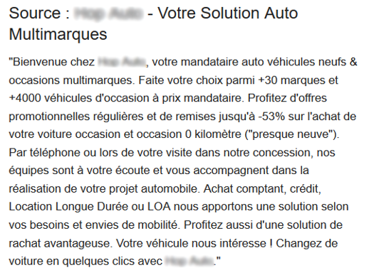 Exemple de description concession automobile google my business