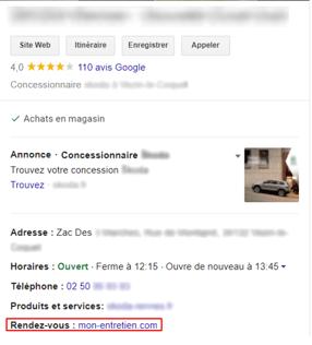Mise en avant lien de rendez-vous fiche google my business