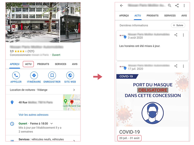 Post actu Google dans une fiche Google My Business de concession